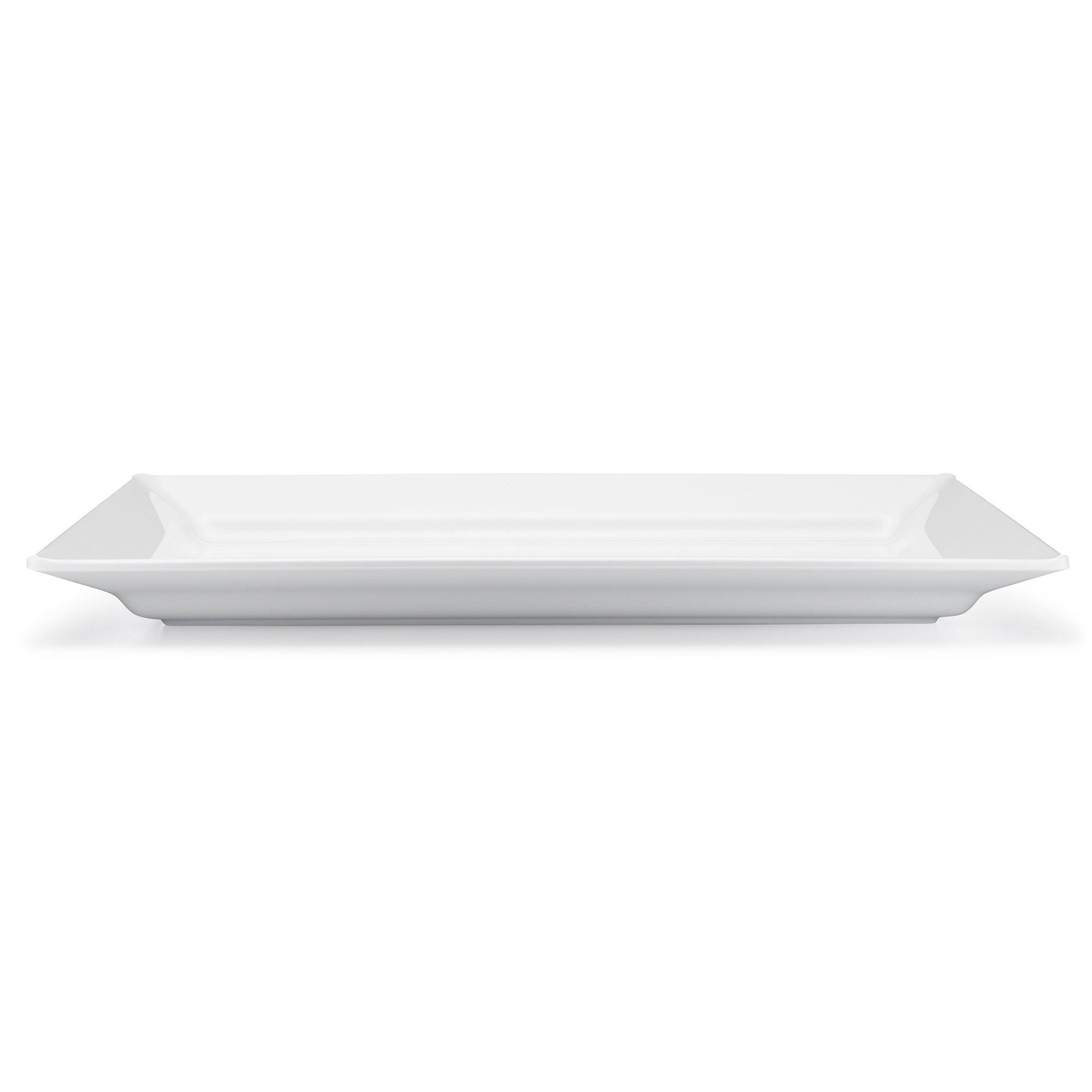 Q Squared Diamond White BPA-Free Melamine Large Rectangle Platter, 17-1/4 by 10-1/2, White by Q Squared (Image #3)