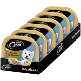 Cesar Premium Adult Wet Dog Food, White Meat Fish & Vegetables, 6 Trays (6x100g)