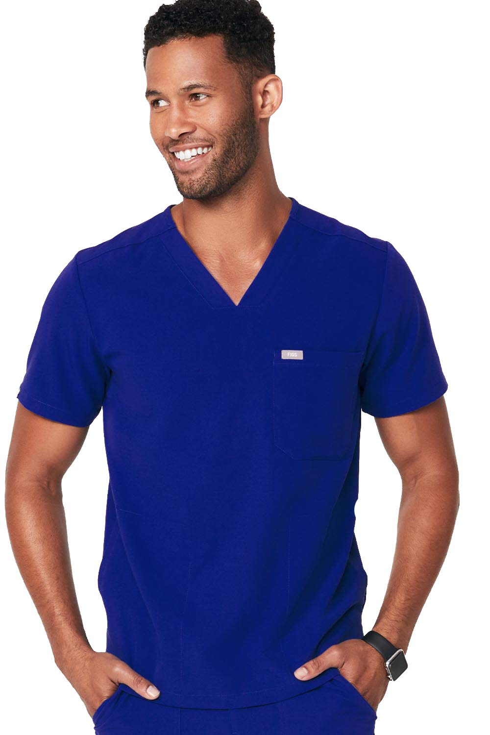 FIGS Medical Scrubs Men's Chisec Three Pocket Top, Deep Royal Blue M
