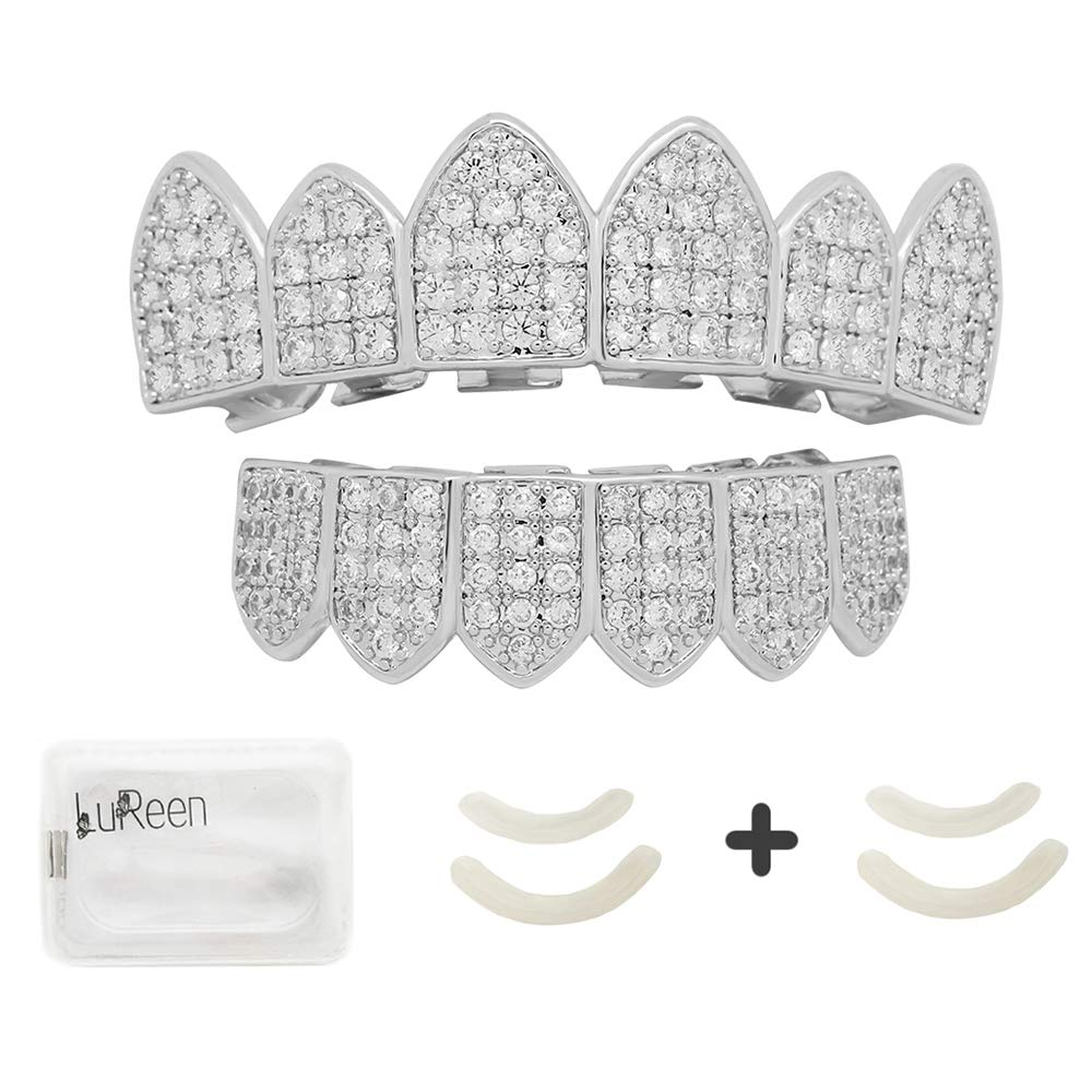 LuReen Pave Full CZ Grillz Vampire Fangs 6 Teeth Top and Bottom Set Grills + Extra 2 Molding Bars by LuReen