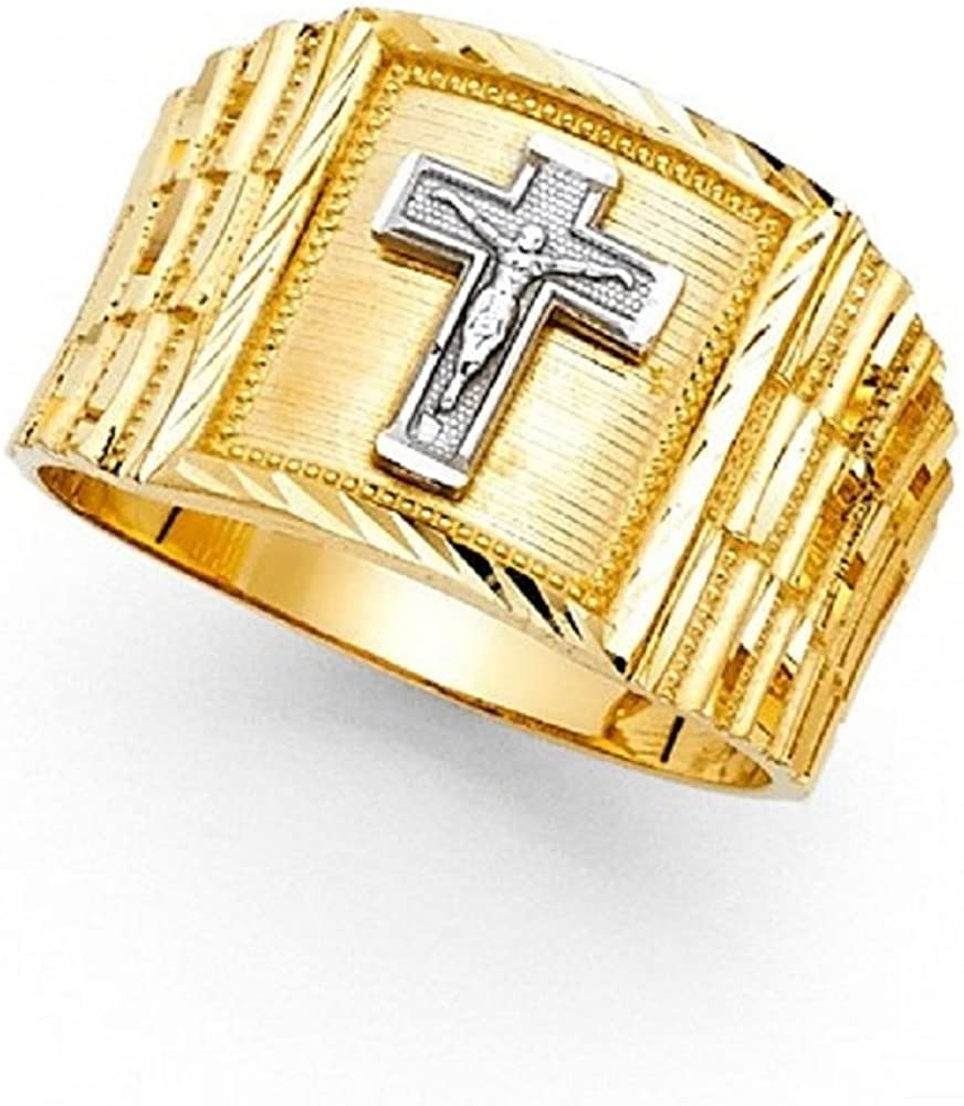 Big Jesus Cross Square Ring Solid 14k Yellow White Gold Mens Large Crucifix Band Two Tone 14MM