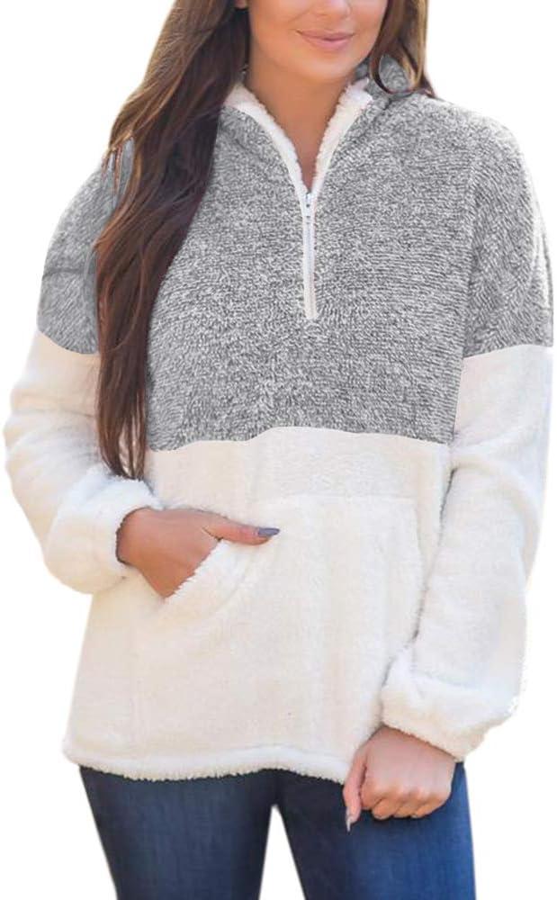 Douremifa Womens Fleece Hooded Pullover Sweatshirt Casual Loose 1//4 Zip Jacket Coat with Pockets