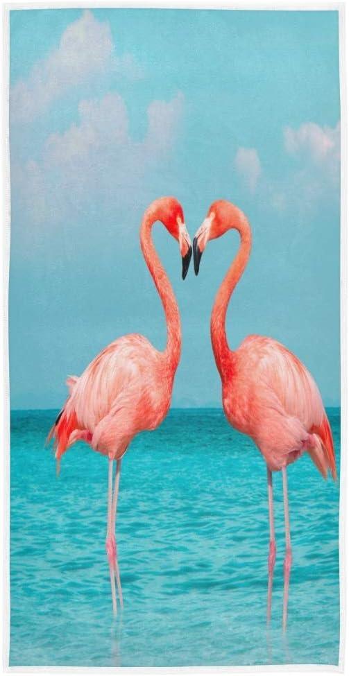 Summer Pink Flamingos Hand Towel Bathroom Home Decor Blue Sea Sky Cotton Beach Bath Towels Plush Dish Washcloth Guest Towel for Women Shower Swim Pool Beach Spa Gym Yoga Travel 30 x 15 inches