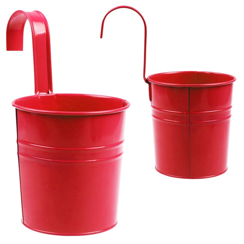 Setmas Red Hanging Flower Pots Round Metal Bucket Planters Pot Balcony Wall-mounted Flower Pot For Plant and Flower 6 Inch 3 Pack