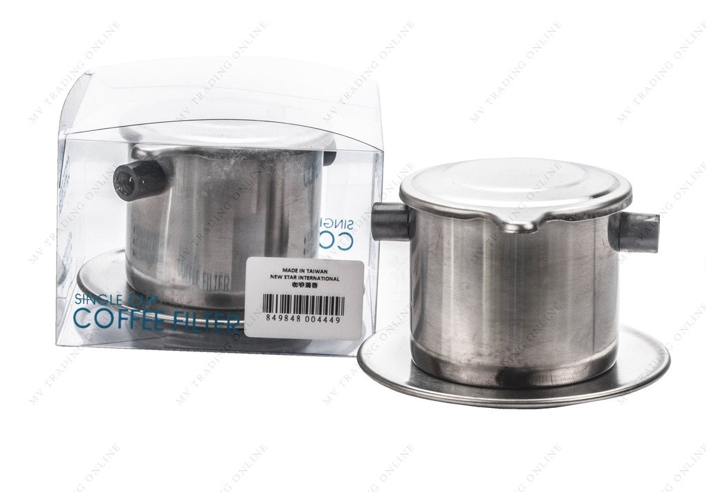 M.V. Trading TWCF Vietnamese Coffee Filter Set, Coffee Infuser Set, Slow-Drip, Single-Cup Serving, Stainless Steel, Made in Taiwan by M.V. Trading