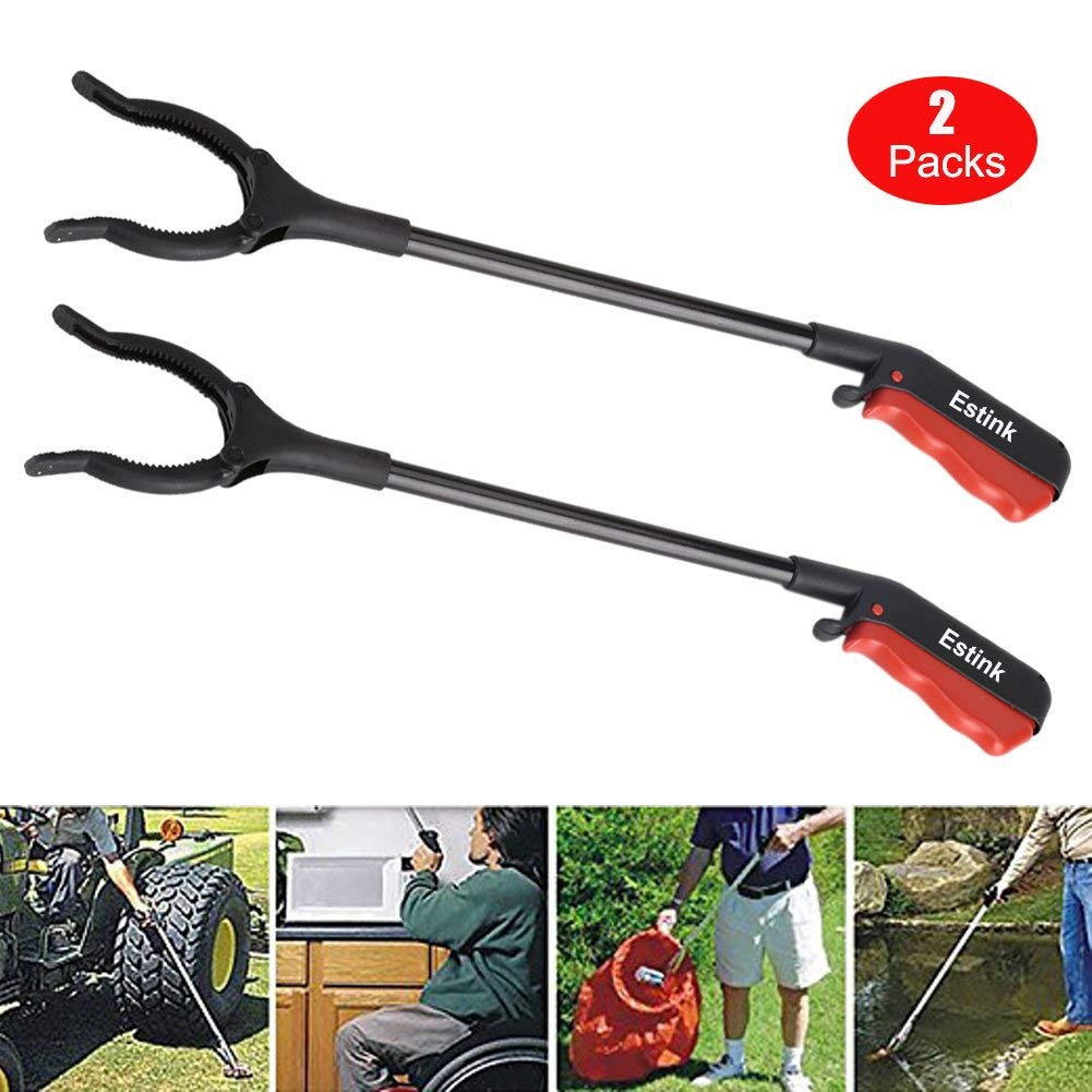 Trash Grabber Tool,45cm / 17.7'' Long Reach Grabber Handy Mobility Aid Reaching Assist Tool for Picking Up Garbage, Litter,Garden Nabber (Pack of 2) by Estink