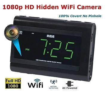 DIY Spy Supply 1080p WiFi Alarm Clock Hidden Spy Camera, Remote