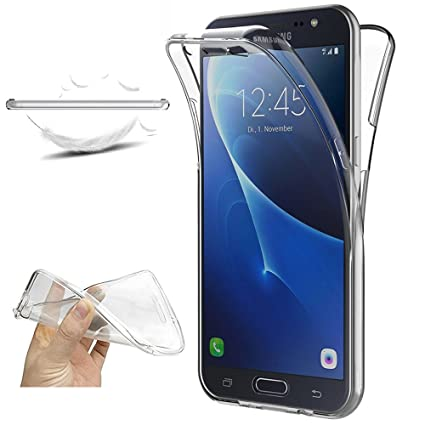 XCYYOO Funda para Samsung Galaxy J7 2016 J710 Silicona,Carcasas para Samsung Galaxy J7 2016 J710, [360 Grados Full Body] Transparente Suave Ultrafina ...