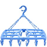 Foldable Clip and Drip Laundry Drying Hanger Rack with 24 Strong Pegs- 3 Colors Option- Premium Hign Quality(Pure Blue)