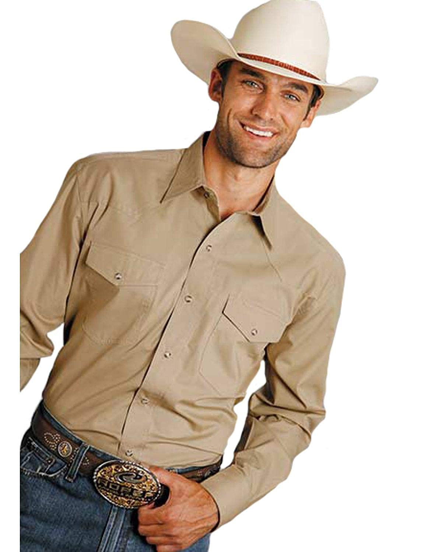 03-001-0664-1034 Br Roper Mens Amarillo Solid Poplin Snap Long Sleeve Western Shirt Big and Tall