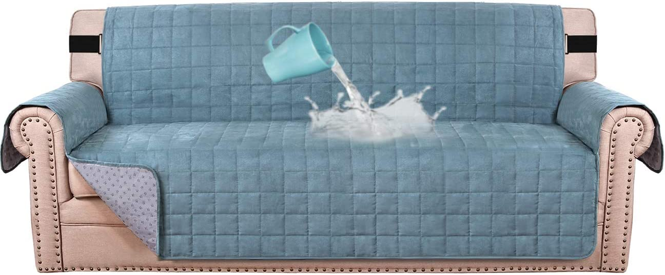"100% Waterproof Sofa Furniture Cover Suede Couch Covers for Dogs Velvet Sofa Protector Leather Sofa Cover Seat Width 70"" Sofa Slipcovers with 2"" Strap and Non-Slip Backing (Sofa, Stone Blue)"