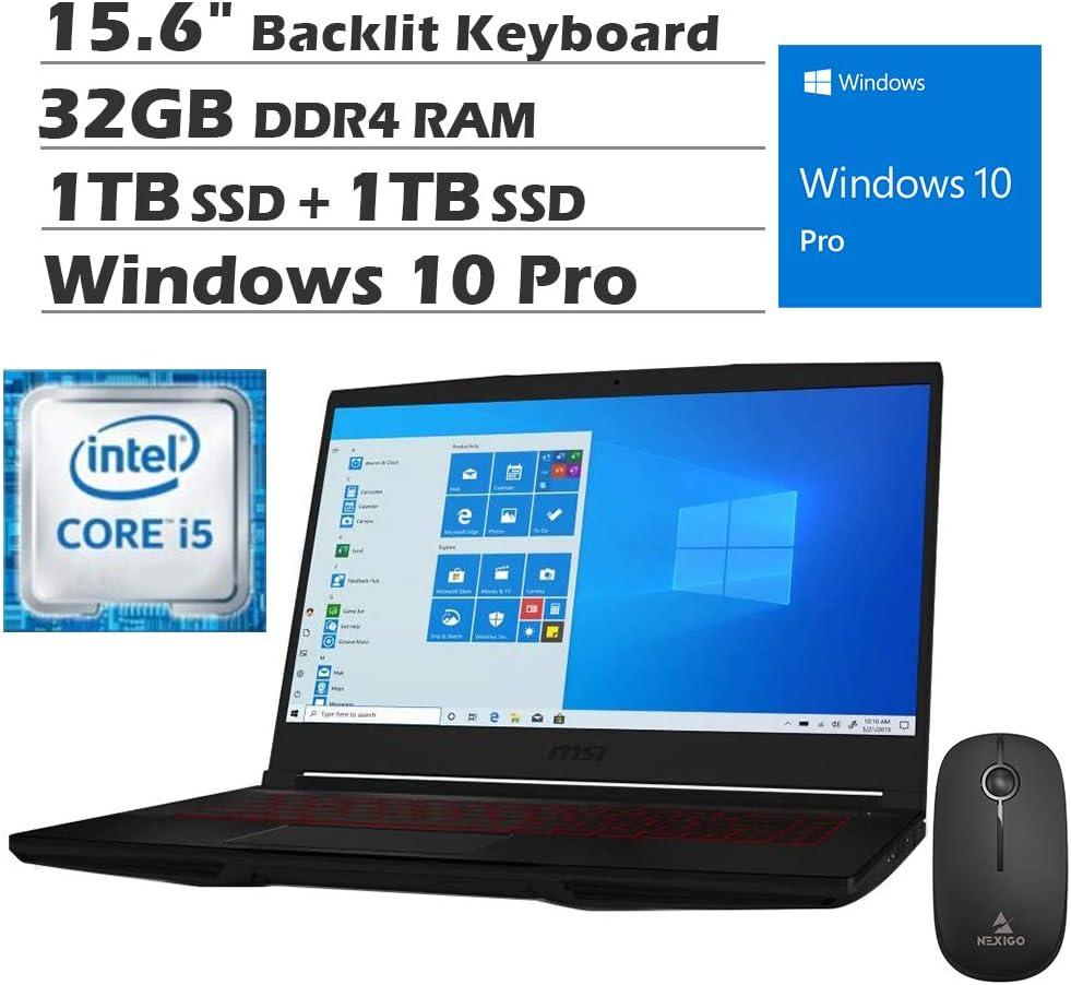 2020 MSI GF63 15.6 Inch FHD 1080P Gaming Laptop| Intel Core i5-9300H up to 4.1GHz| GeForce GTX 1050 Ti 4GB| 32GB RAM| 1TB SSD (Boot) + 1TB HDD| Backlit KB| Win10 Pro + NexiGo Wireless Mouse Bundle