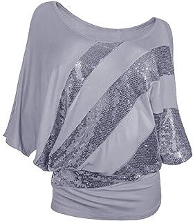 SMITHROAD Damen T-Shirt mit Pailletten Aufdruck Fledermaus Shrit Top Kurzarm  Dehnbar Rundhalsausschnitt Loose Fit eb8a59868f