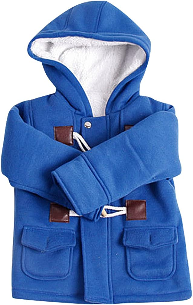 BPrincess Babies Zip Up /& Horn Buttons 2 Pocket Fleece Lined Hood Duffle Coat