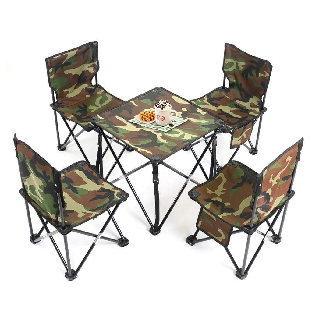 MUMM Picnic Table Fold Away Picnic Dining Barbecue Table 5 Sets of Folding Tables and Chairs for Barbecue Dinner Camping Seats oO by MUMM