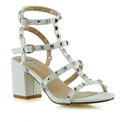 Womens Adjustable Buckle Block Heel Shoes Sz 3-8