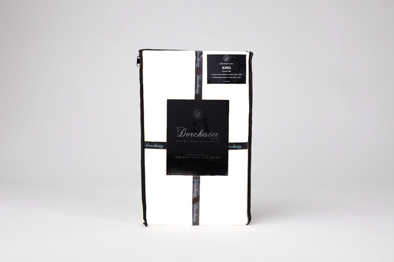Ritz Satin Stripe Cotton Rich 300 Thread Count Duvet Cover Set, King Size, White by Dorchester