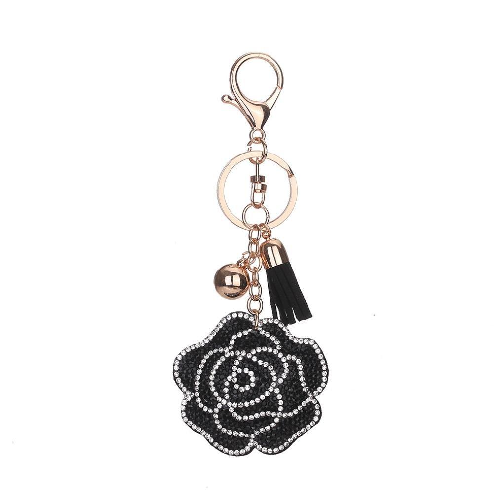 BCDshop Roses Keychain Rhinestone Tassel Key Chain Car Key Bag Handbag Key Ring Pendant Charm Gift (Black)