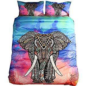 India Mandala Comforter Bedding Sets Elephant Duvet Cover Set With Pillowcase Bohemian Kids Bedlinen (Elephant For Kids, 3pcs us full)