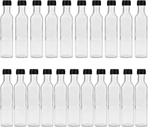 Glass Bottles With Caps,Encheng 8oz Clear Woozy Bottles with Plastic Top 250ml,Small Wine Bottles With Screw Lids,Glass Hot Sauce Bottles Square,Empty Small Vintage Beverage Bottles Canning Bottles Case of 21 …