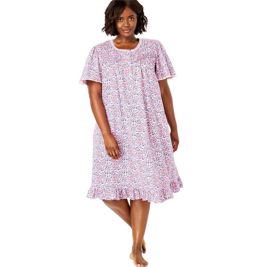 Womens Plus Size Short Floral Print Cotton Gown Dreams /& Co