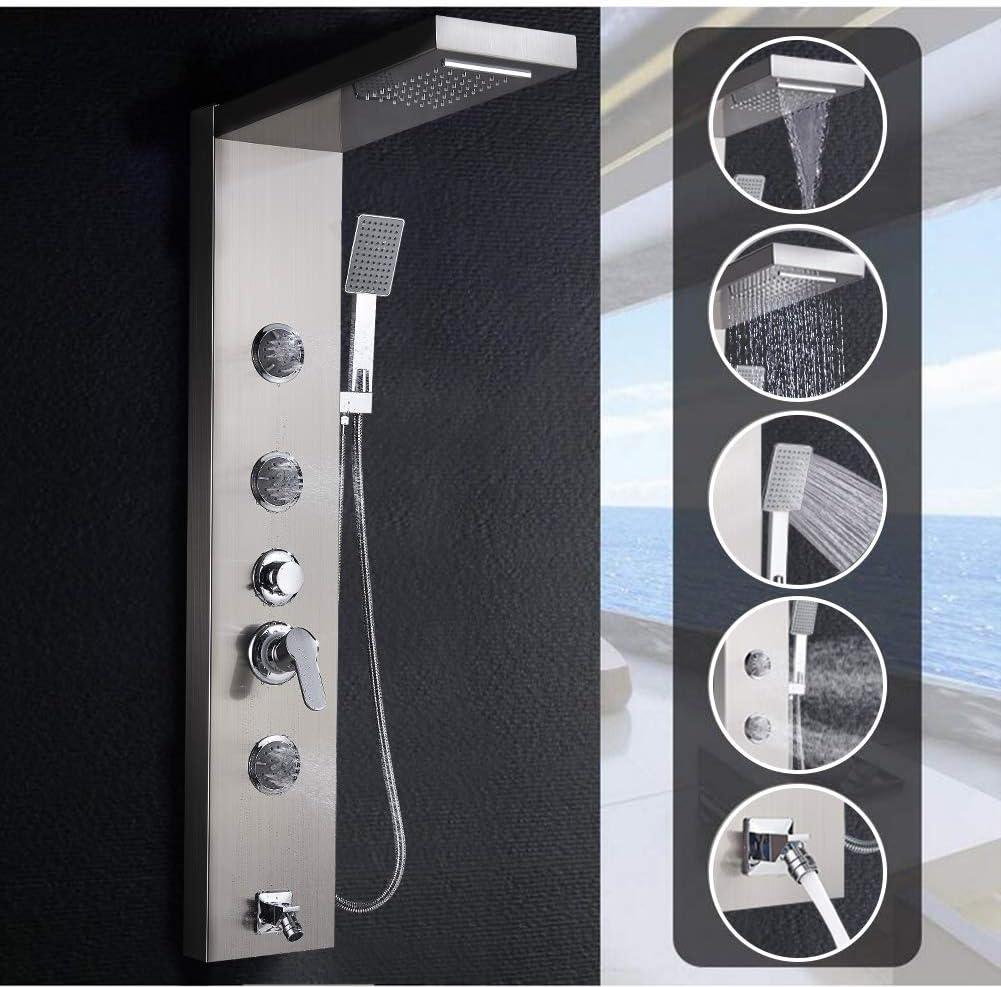3xMassaged/üsen 5 Funktion f/ür Badezimmer SUGU 304 Edelstahl Duschpaneel Duschsystem mit Regendusche Wasserfall Duschkopf,Handbrause,Badewannenarmatur