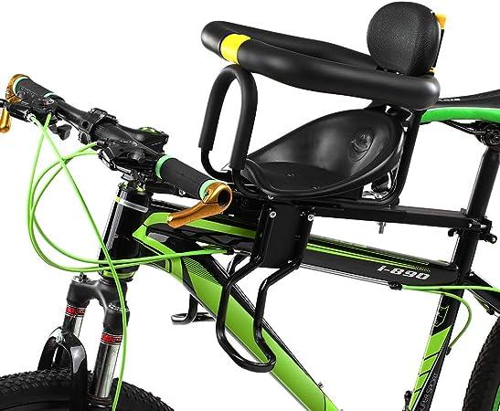 Asiento de Seguridad para niños Asiento Delantero para Bicicleta Sillín Infantil Portabebés para Bicicleta con Pedales Respaldo Negro hasta 25 kg De 8 Meses a 7 años: Amazon.es: Hogar