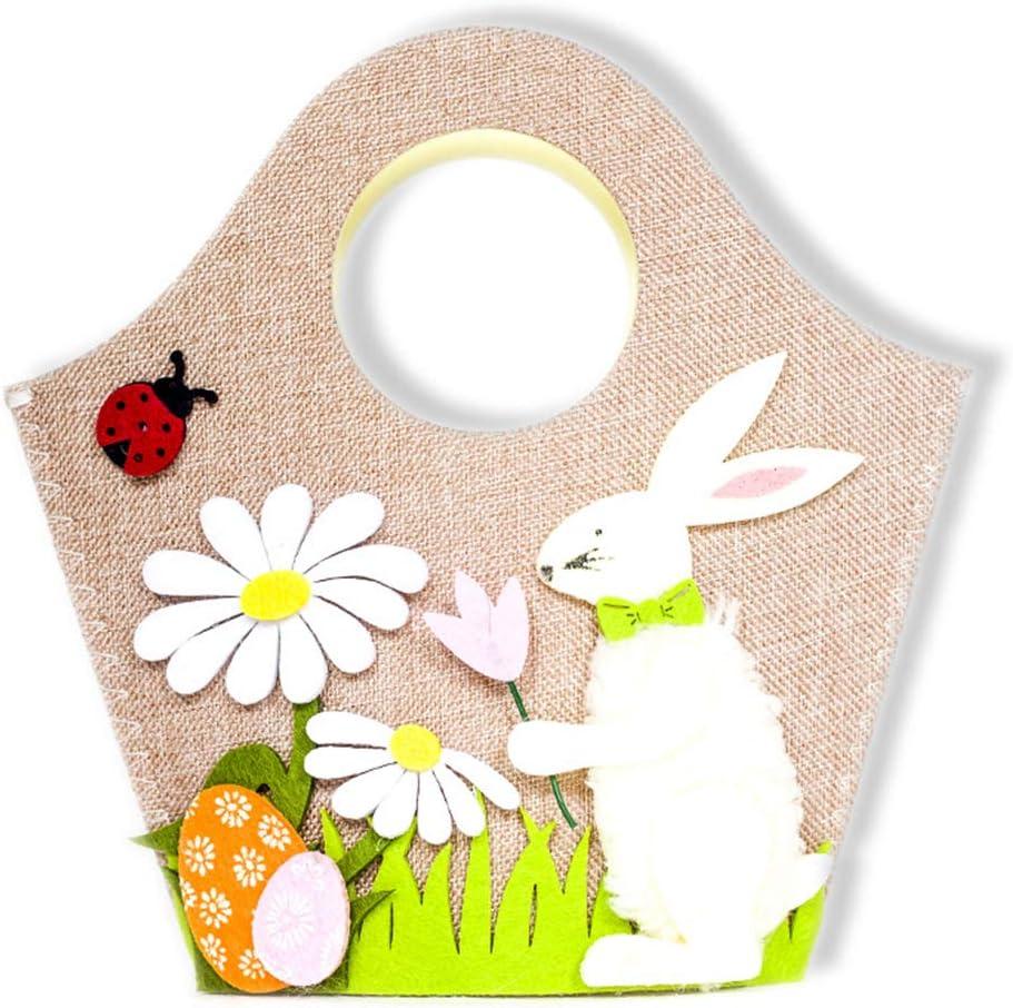 NAttnJf Lindo Conejo Flor Huevo Pascua niños Caramelo Juguete Regalo Bolsa de Almacenamiento Bolso de decoración para el hogar A