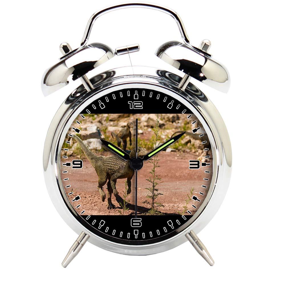 Children's Room Silver Dinosaur Silent Alarm Clock Twin Bell Mute Alarm Clock Quartz Analog Retro Bedside and Desk Clock with Nightlight-479.586_Forest, Open, Old, Animal, Wildlife, Model, Natural,