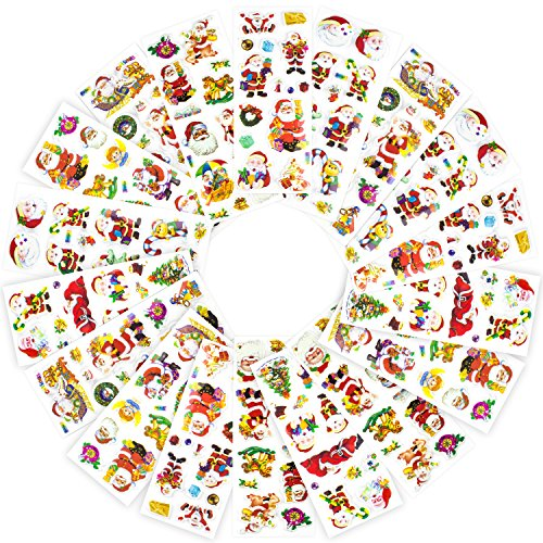 Braudel 3D Santa Clause Puffy Stickers for Kids Teachers, Christmas Sticker Set for Christmas Gift Card DIY, 18 Sheets