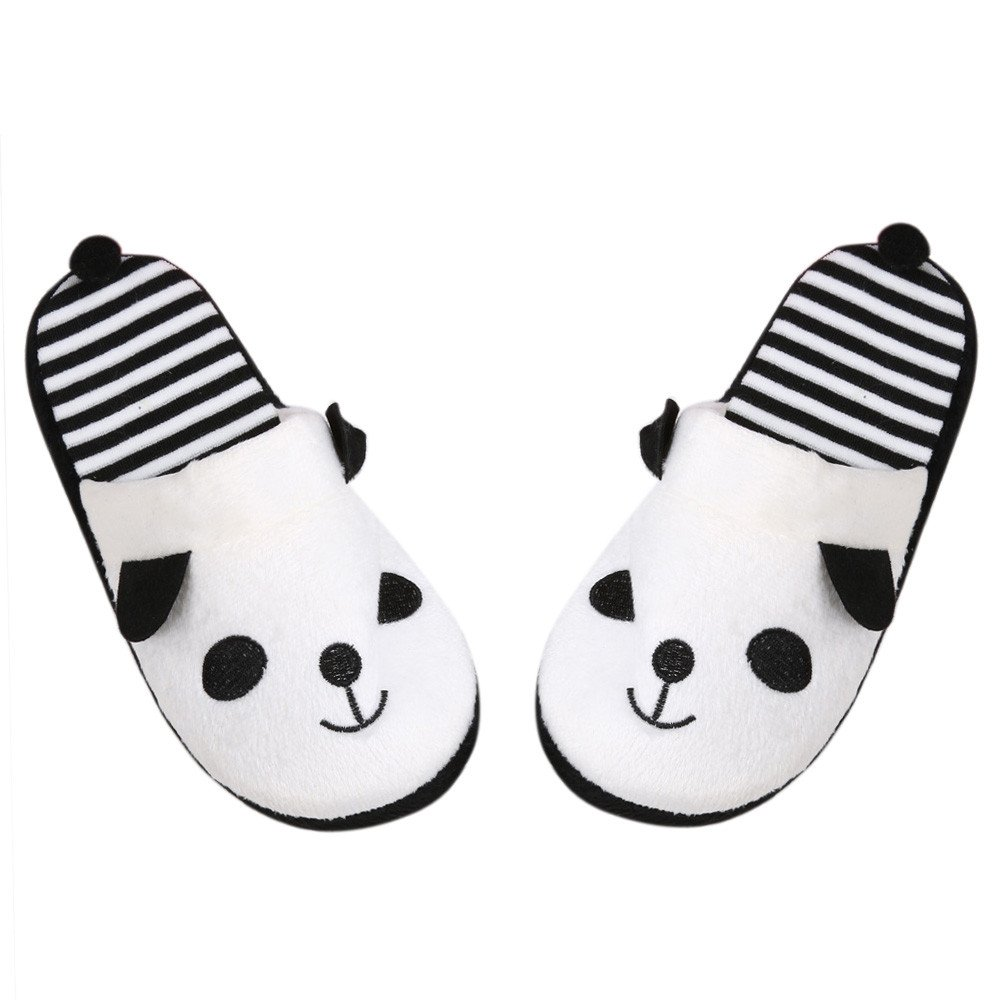 Tantisy ♣↭♣ Boy and Girls Lovely Cartoon Warm Cotton Flat Slippers Cute Panda Soft Stripe Anti-Slip Home Floor Slipper