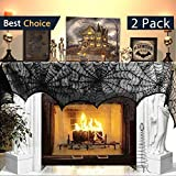 Jolik 2 Pack Halloween Decoration Spiderweb Fireplace 18 x 96 inch Mantle Scarf Cover Festive Halloween Supplies (Black) Review