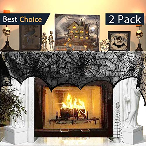 Jolik 2 Packs Halloween Decoration Spiderweb Fireplace 18 x 96 inch Mantle Scarf Cover Festive Halloween Supplies (Black)