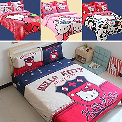 HELLO KITTY Queen Size Bedding Set Twin Full Size Bed Sheets For Kids  Children Bed Set