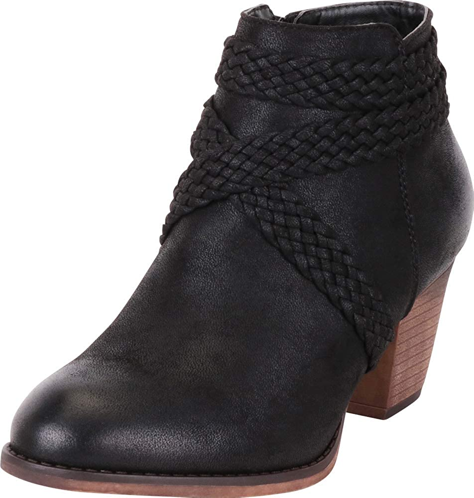Black Pu Cambridge Select Women's Distressed Woven Braid Crisscross Strappy Stacked High Heel Ankle Bootie