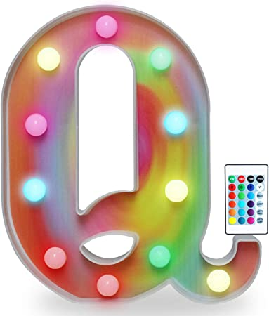 Rainbow Multiple Light up Letters with Remote, 16 Colors Alphabet Letter Lights LED Bar Signs for Wall, Table, Bedroom, Home Decor-Rainbow Letter Q