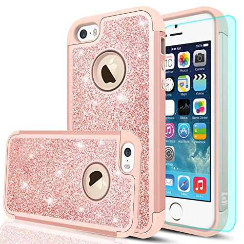 iPhone 5S Case, iPhone 5/iPhone SE/iPhone SE 2 Case with HD Screen Protector,LeYi Glitter Bling Girls Women Dual Layer Heavy Duty Protective Case for iPhone 5S/5SE/SE 2 TP Rose Gold