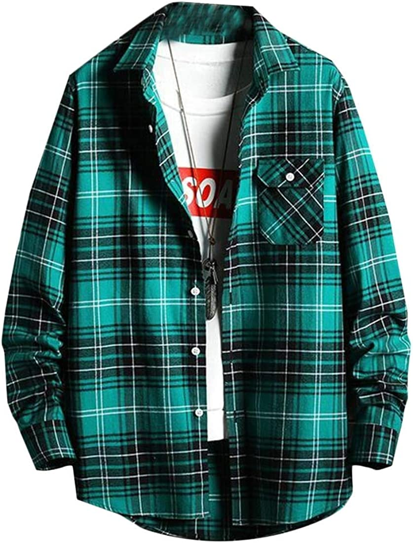 Rrive Mens Classic Button Up Chest Pocket Plaid Long Sleeve Shirts