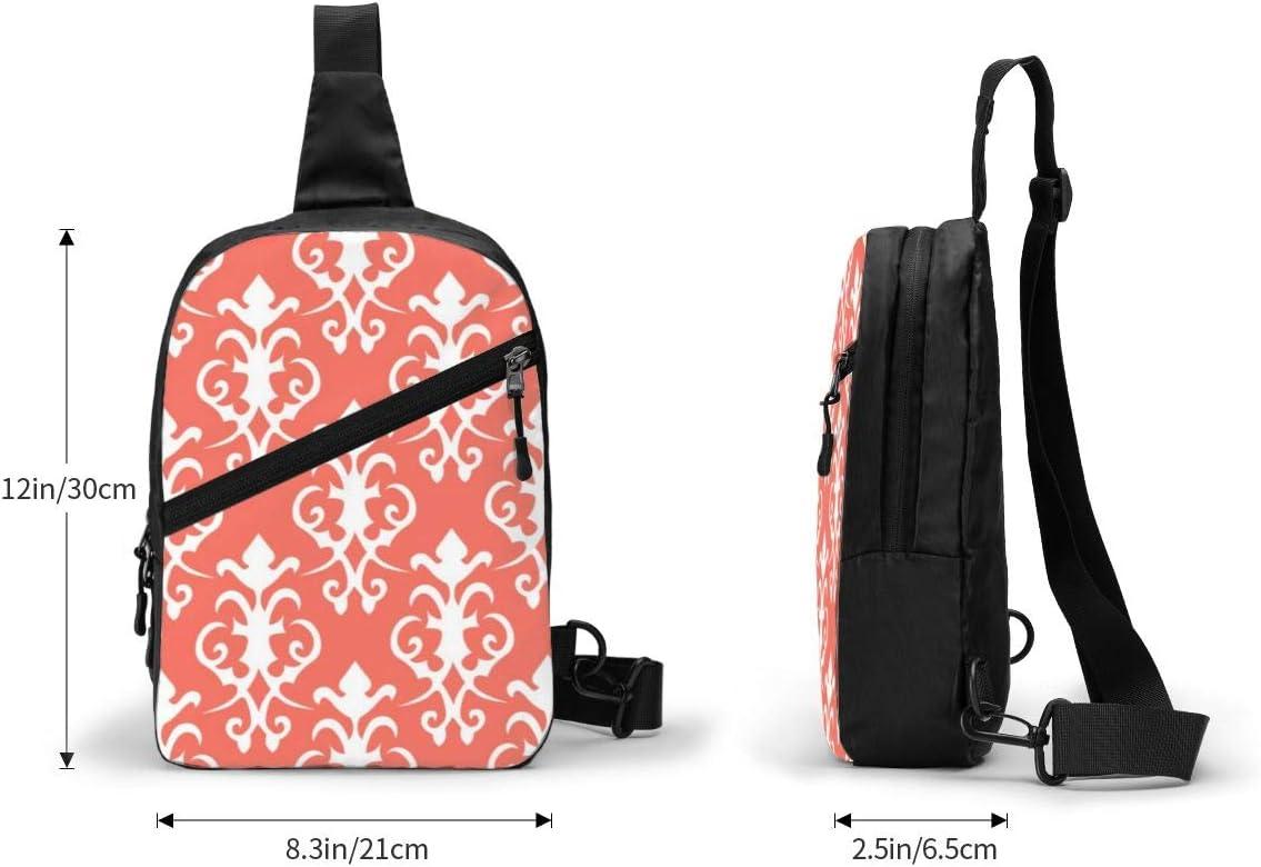 Coral Damask Chest/Sling/Bag/Crossbody/Backpack/Shoulder/Casual/Daypack/Rucksack/for/Men/Women/Outdoor/Cycling/Hiking/Travel