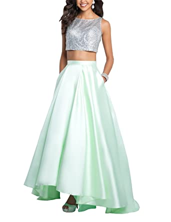 Two Piece Graduation Dresses 2018 Hi Low Beaded Pockets Bateau Open Back Prom Gowns Evening Party