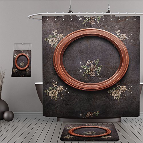 Uhoo Bathroom Suits & Shower Curtains Floor Mats And Bath Towels 71303899 round frame on black shabby wallpaper For - On Macy State