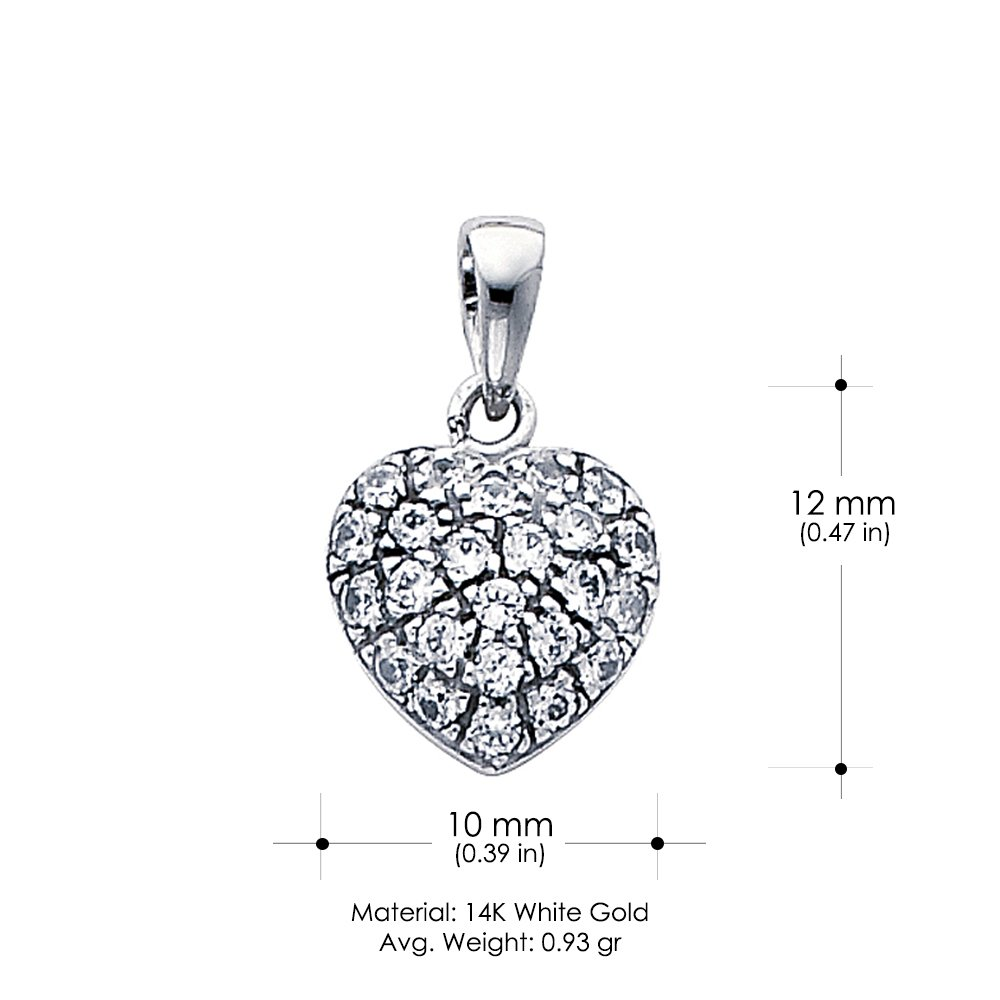 14K White Gold Heart Cluster Cubic Zirconia CZ Charm Pendant with 1.3mm Flat Open Wheat Chain Necklace