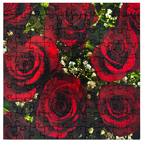 Mosaic Puzzles Wooden Jigsaw Puzzle – Red Rose Bouquet – 104 Unique Pieces Challenge any Puzzle Lover from ages 8 to 98– Made in the USA by Zen Art & Design