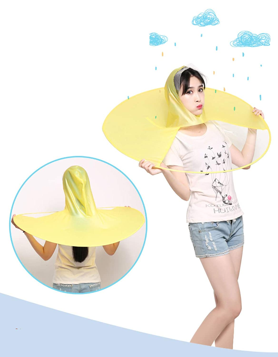 Amazon.com  Wantis Magical Rain Coat Artifact UFO Umbrella Hands Free  Charming Costum Yellow (1.55-1.8M(height))  Garden   Outdoor fc919a4d1ba9
