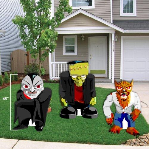 Halloween Yard Decoration Frankenstein, Werewolf, and Dracula Stand up Yard Decorations with ground stakes (Werewolf Halloween Decorations)