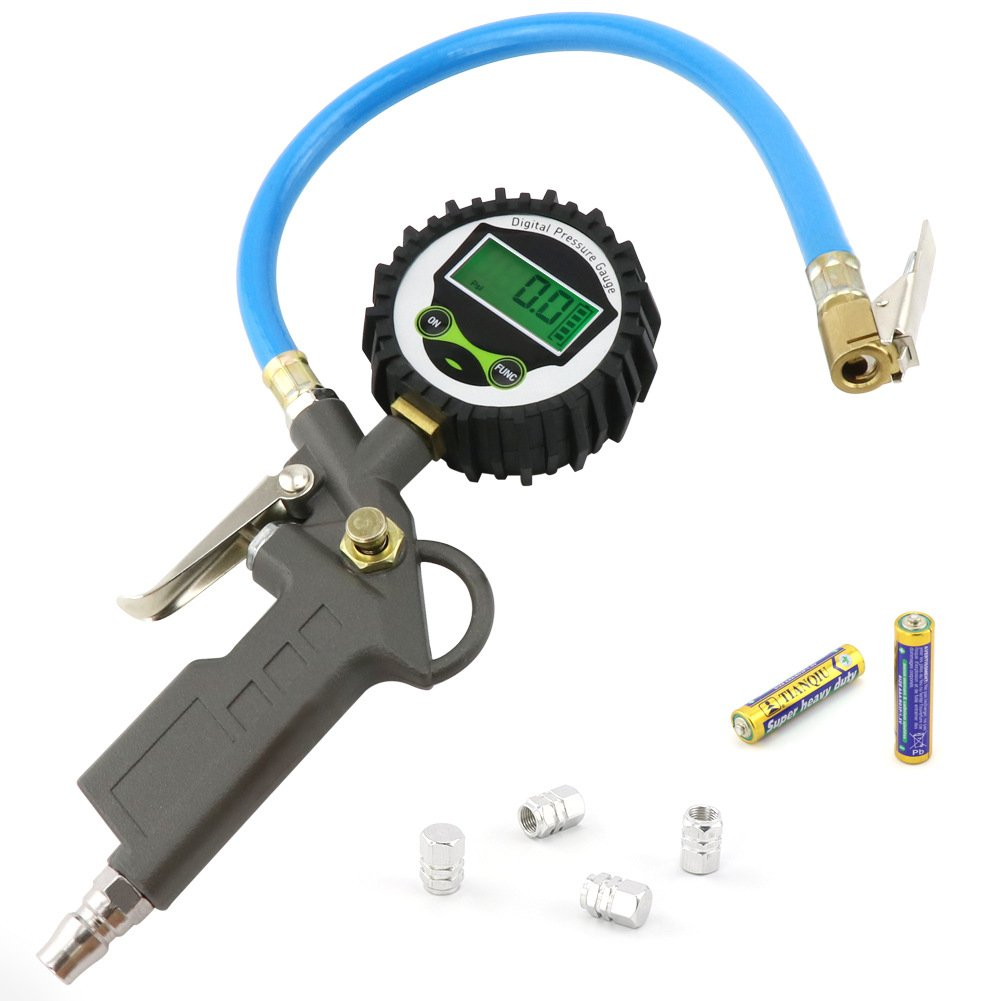 COFIT 255PSI/18Bar Digital Tire Inflator Pressure Gauge with Hose and Quick Connect Coupler for Car, Truck, Motorcycle
