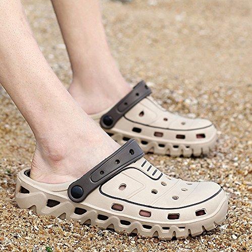 Xing Lin Flip Flop De La Playa Verano Hombres Zapatillas De Uso Doble Cabezal Semi-Remolque Sandalias Cool Agujero Antideslizante Shoes Sandalias Casual Masculino Arrastre 699 khaki