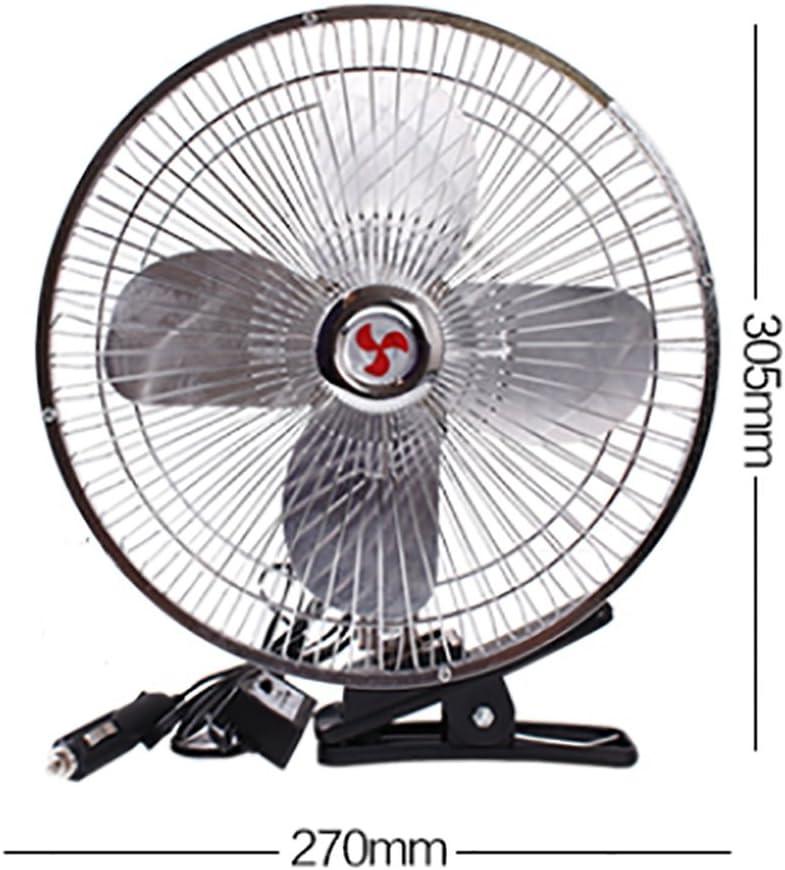 Alger Ventilador del coche 12v 24 v volt coche pequeño ventilador gran camión aire acondicionado fuerte viento cabeza de refrigeración, four-leaf metal fan (10