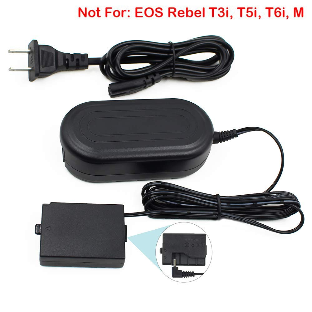 ACK-E10, FlyHi ACK-E10 AC Power Adapter DR-E10 DC Coupler Charger Kit (Replacement for LP-E10) for Canon EOS Rebel T3, T5, T6, T7, T100 Kiss X50, Kiss ...