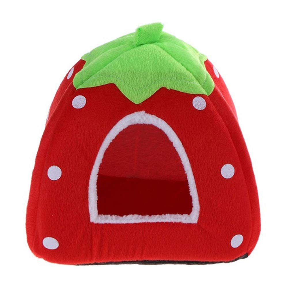 E Small E Small Foldable Cat Dog Kennel Warm Pad Strawberry Shape Sponge Pet House Kennel (color   E, Size   S)